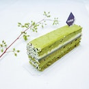 Matcha Goma Keki •SGD 6•  A lovely visual contrast of layers made up of green tea mousse, black sesame cream, white chocolate whipped ganache and green tea sponge.