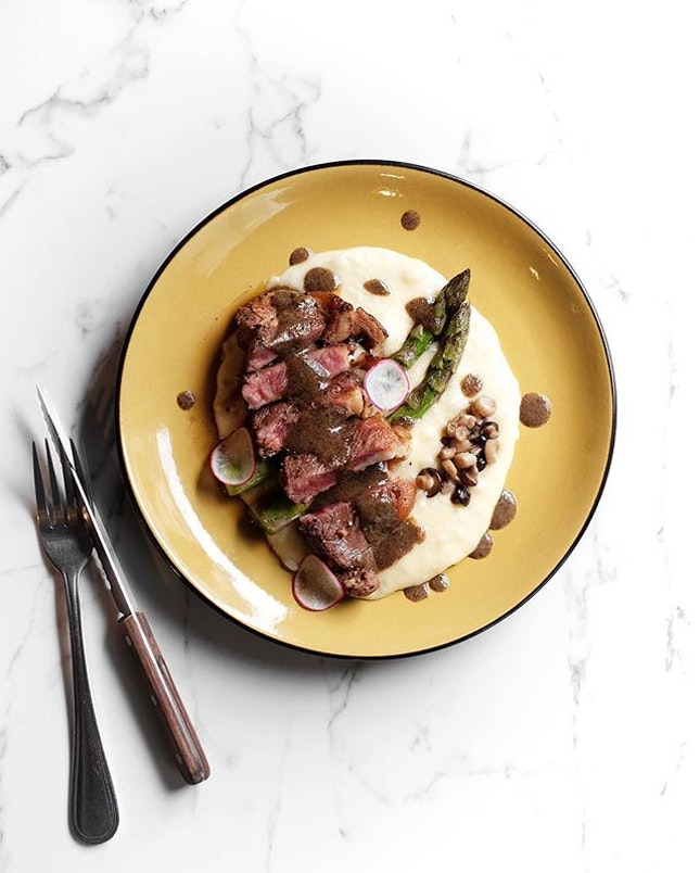 Striploin Steak •SGD 21.80• • Of truffled mash smooth as velvet, a perfectly seared butter basted Australian Striploin steak and a marble background.