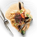 Bangkok Market Sustainable Seafood (Part of 4-course menu) • Flaunting the main from Tangerine's latest menu by Thai chef Ian Kittichai, the Bangkok market sustainable seafood is a plethora of seafood featuring tiger prawn, mussel and fish on a lustful bed of flavorful and perfectly cooked pearl barley rice.