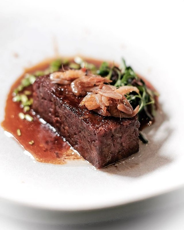 Probably the most memorable dish from V Dining, in an unflattering way, is this beef main dish from the menu.