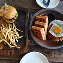 Chicken Waffle And Beef Burger