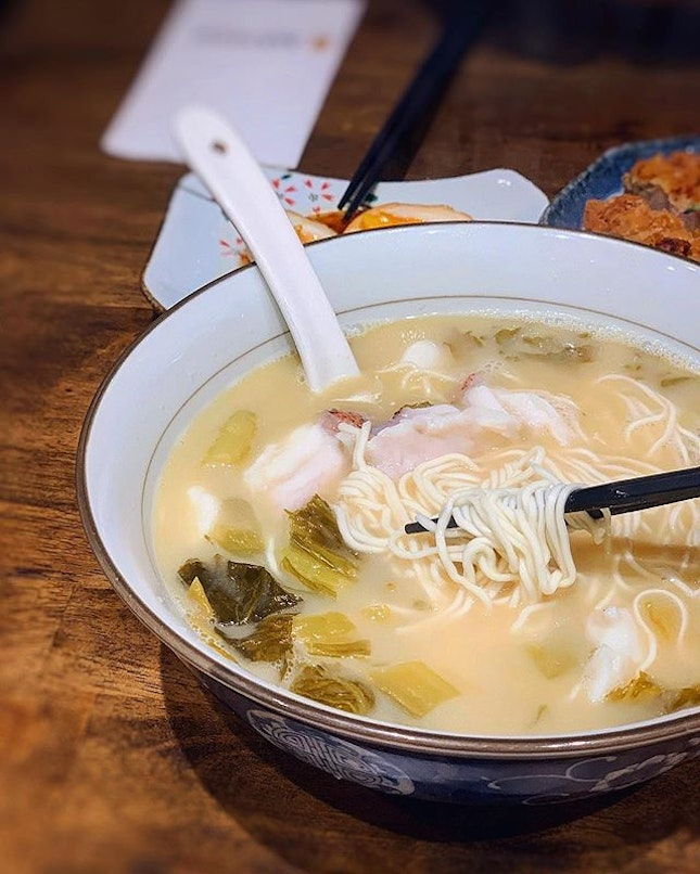 Red Garoupa with Pickled vegetables ramen .