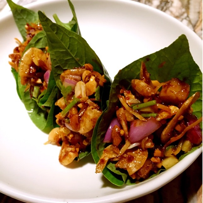 Dried Prawns, Ginger, Toasted Coconut And betel Leaves