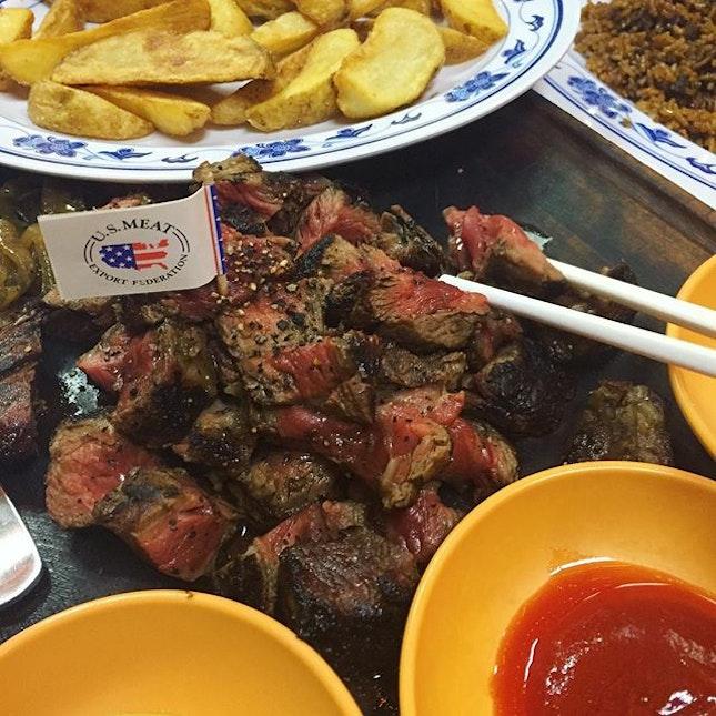 The famous black angus ribeye steak!