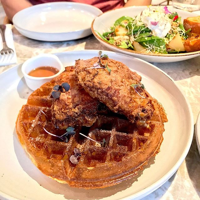 #burpple | #tbt a special #sundaybrunch @fynnssg @southbeachavenuesg with #friedchickenwaffle #burratacheese salad with poached pear and a very filling Fynn's breakfast of poached eggs, sausage and asparagus.