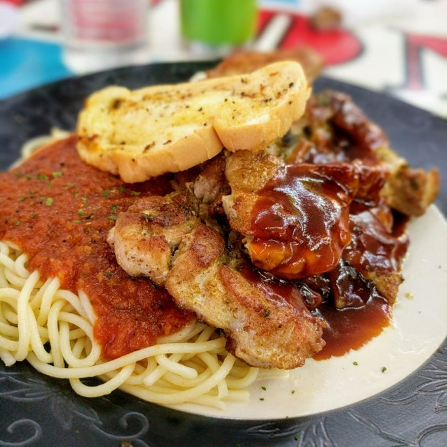 Chicken Chop With Spaghetti & Coleslaw