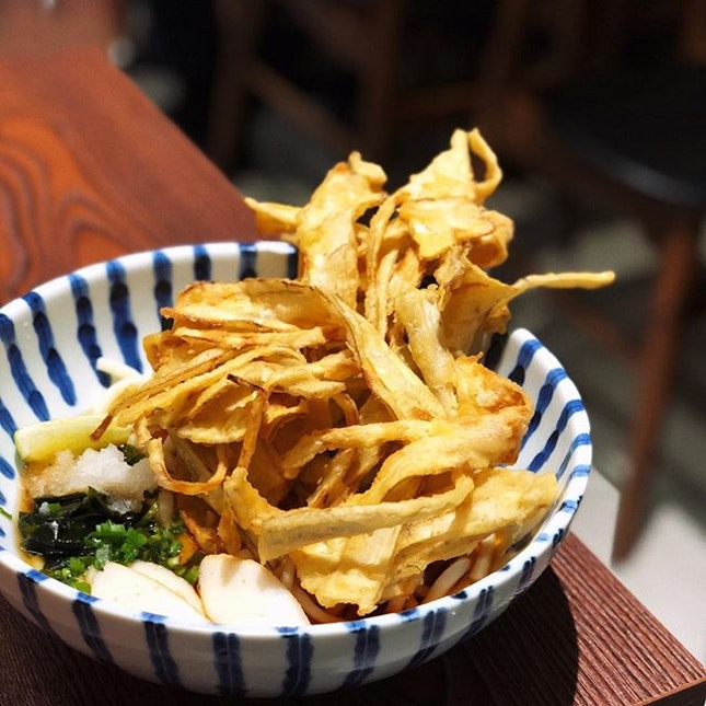 Gobo Ten (Burdock Tempura Udon) comes in soup or dry version and for the dry you can choose hot or cold udon.