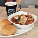 Hot meal @spinellicoffeecompany Tender chicken and soft vegetables Chicken Stew available for a limited period .