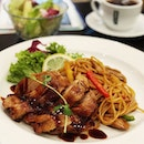 Teriyaki Chicken Spaghetti lunch set @grand_jete_cafe_and_bar top up $5 to complete the meal with tea/coffee and salad .