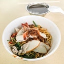 Prawn Noodles from Pin Fu Traditional Prawn Noodle  The noodles came tossed with the savoury sauce that also gave a spicy kick, while coming with various ingredient such as prawns, sliced meat, sliced fish cakes, bean sprouts and vegetables!