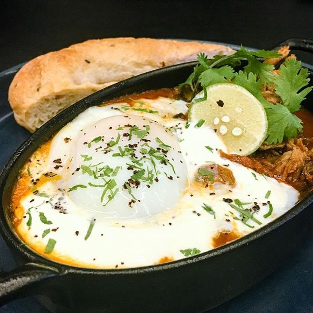 Tuscan Lamb Harissa Baked Eggs  Tuscan lamb meat was slow-roasted in rich chunky tomato sauce and harissa, a Moroccan spice, which turned out to be tender, tangy while being slightly spicy!