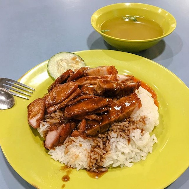 Amoy Street Food CentreChar Siew Roasted Meat Rice from Lian He Shao La Fan .