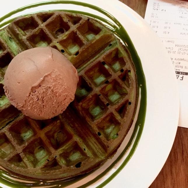 Matcha Waffles ($7) + Smoky Chocolate (Premium) + Matcha Sauce