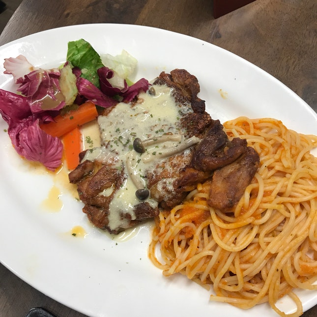 Chicken Chop Spaghetti ($12.90)