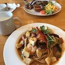 Tom Yam Shrimp Spaghetti