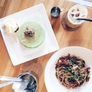 I love local flavours reinvented to Western dishes - lap cheong aglio olio and ondeh ondeh pancakes!