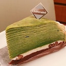 Green Zebra ($4.70) 🍵 🍴Always been a fan of Mille crepe cakes & liked that this came with a thin layer of cream & Azuki beans.