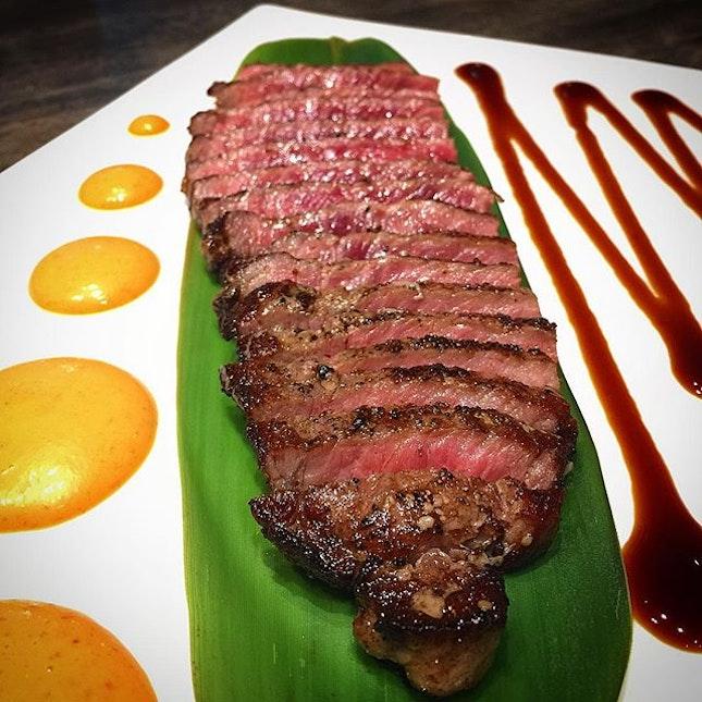 Sirloin steak done medium rare.