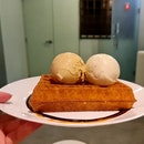 Waffles w Tahitian Vanilla & Coconut Milk, Gula Jawa and Sea Salt Ice Cream | $13.00