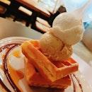 Waffles w Sea Salt Gula Melaka & White Rabbit Ice Cream