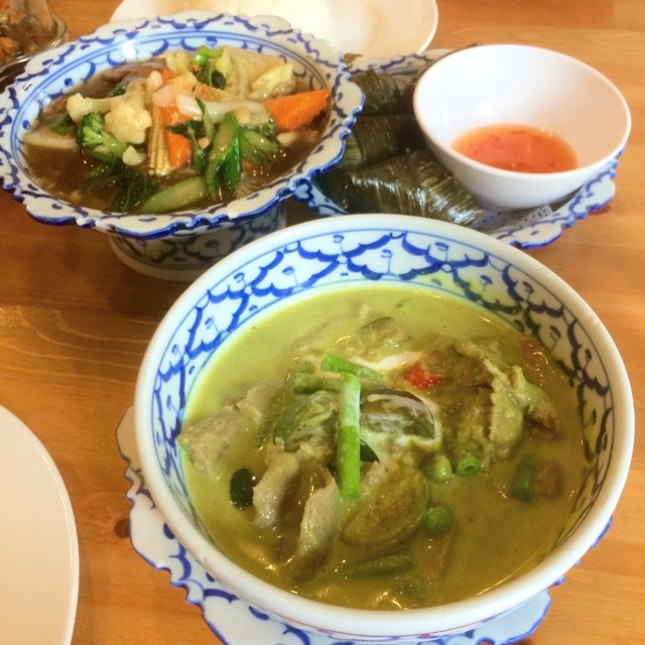 Green Curry Beef ($8) - Pandan Leaf Chicken ($6) - Stir Fry Mixed Vegetables ($6)