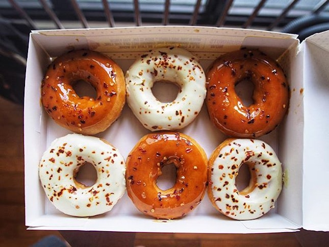NDP specials: Caramel Chilli and White Chocolate Chilli Donuts.