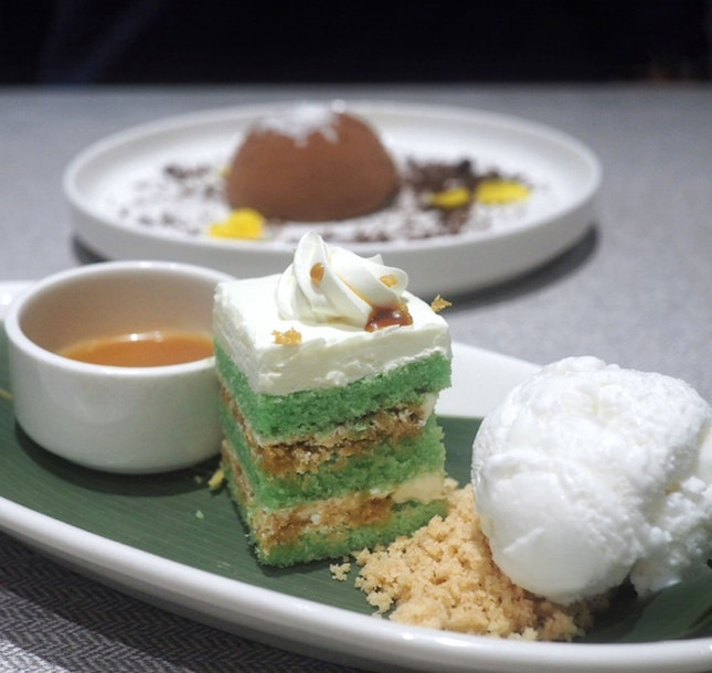 Pandan Ondeh Ondeh Cake with Vanilla Ice Cream