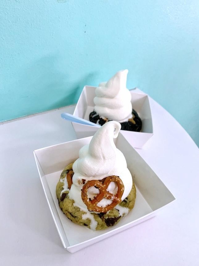 Pretzel Cookie + Marshmallow Frosting + Vanilla Softserve ($6.4) & Choco Bueno + Dulce Leche + Vanilla Softserve ($6.4)