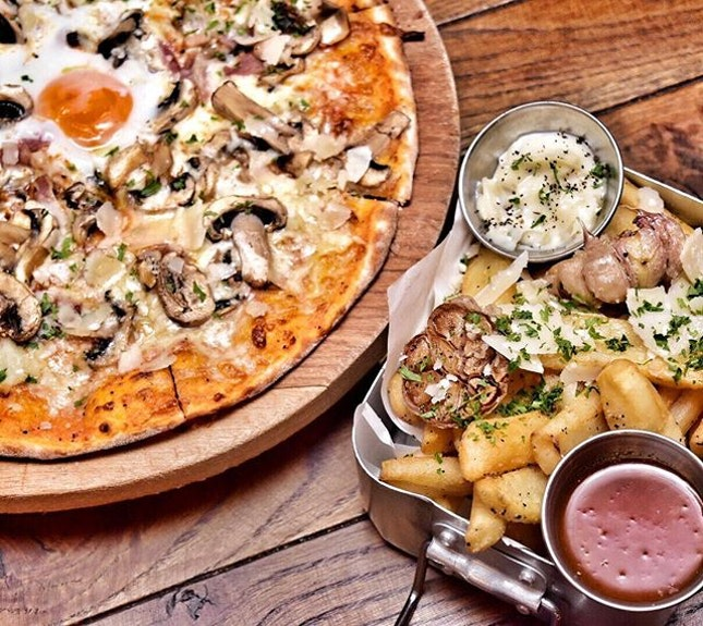 Weekends are made of these: Garlic truffle fries and The morning after pizza.