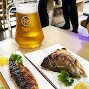 Must haves at Aoki Tei - free flow beer, saba & salmon head.
