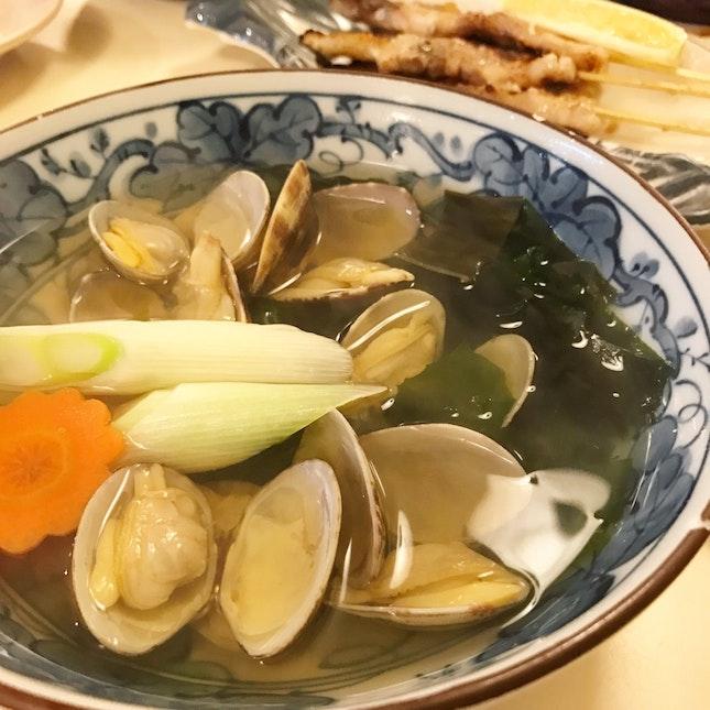 Seasonal special: asari soup ($13)