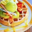 Waffle with Fruits & Match Ice cream.