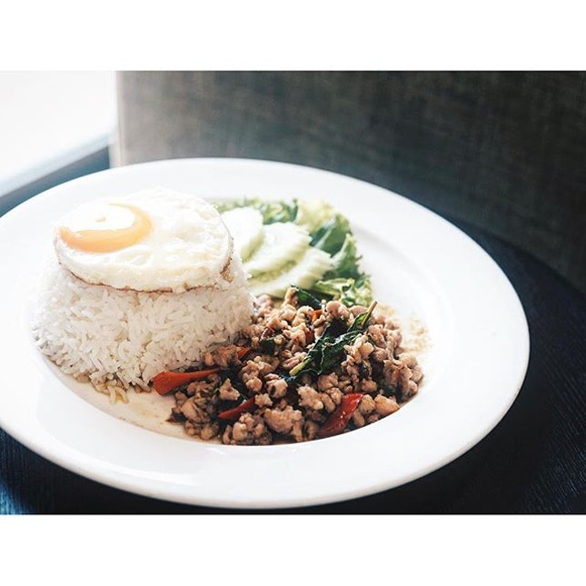 Basil chicken rice with egg.