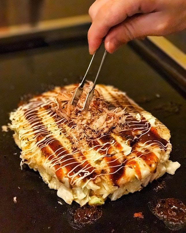 Despite the slightly long queue (we waited almost an hour, so pro tip is to make prior reservations), we were well rewarded when the Mixed Okonomiyaki ($16) came.