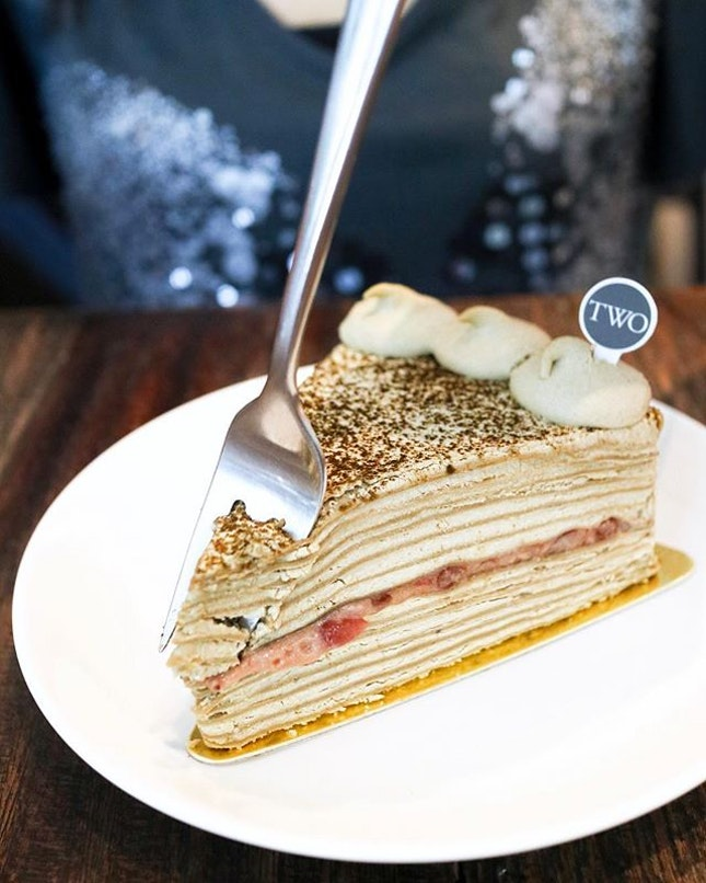 Resisted the urge to order the key lime tart in favor of something that's new in the menu, the Hojicha Crepecake ($8).