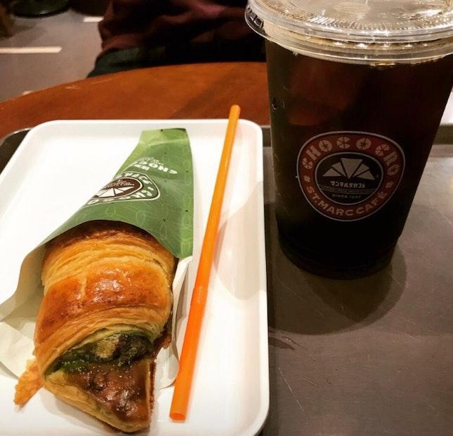 Matcha Chococro $2.60 & Ice Coffee $4.30