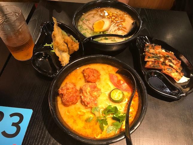 Chicken Karage Tom Yum | Corn Chashu | Chijimi (pancake) | Shisamo (3 Pcs) | Cold Green Tea | Hot Green Tea