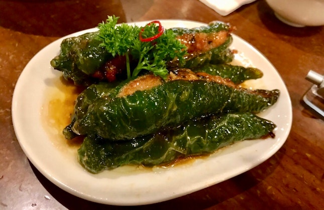 Green Chillis With Stuffed marinated minced meat $8