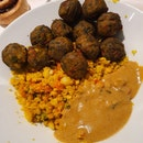 12 Vegetable Balls With Cous cous And Tom Yum Sauce ($6.50)