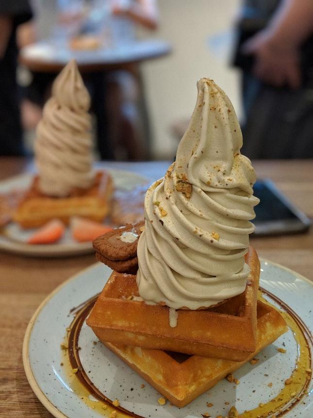pistachio soft serve with waffles