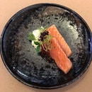 Petuna Ocean Trout with leek fondue and salmon roe.