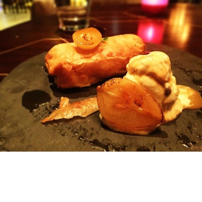 Warm Pear & Pecan Brioche & Butter Pudding