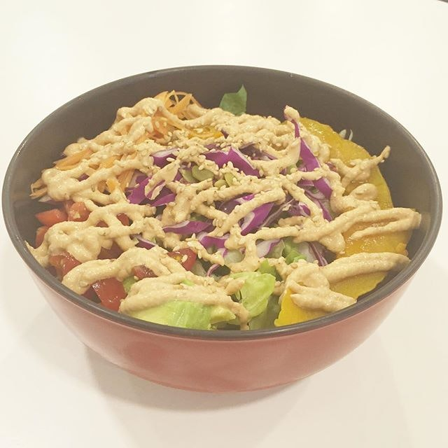 Salad Soba ($12) Sliced pumpkin, shredded red cabbage, shredded lettuce, cherry tomatoes, sunflower seeds, avocado cubes, sesame dressing on top of cold soba soaked in dipping sauce.