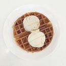 Waffle with 2 scoops of ice cream ($9.90) Half price for waffle!