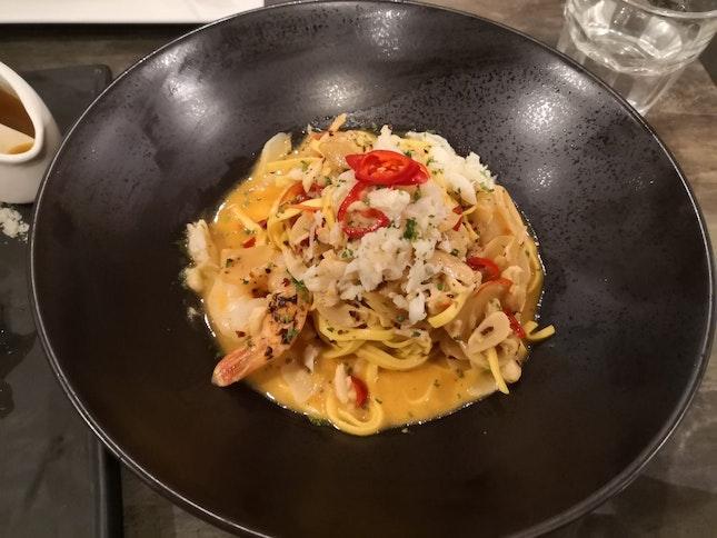 Spicy Diablo Crab & Prawn Tagliolini