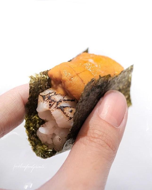 Hotate Uni Sushi (omakase at $38/$68/$98).