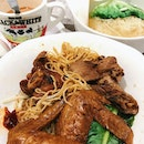 Waton mee set with milk tea and soy sauce chicken wings noodle.