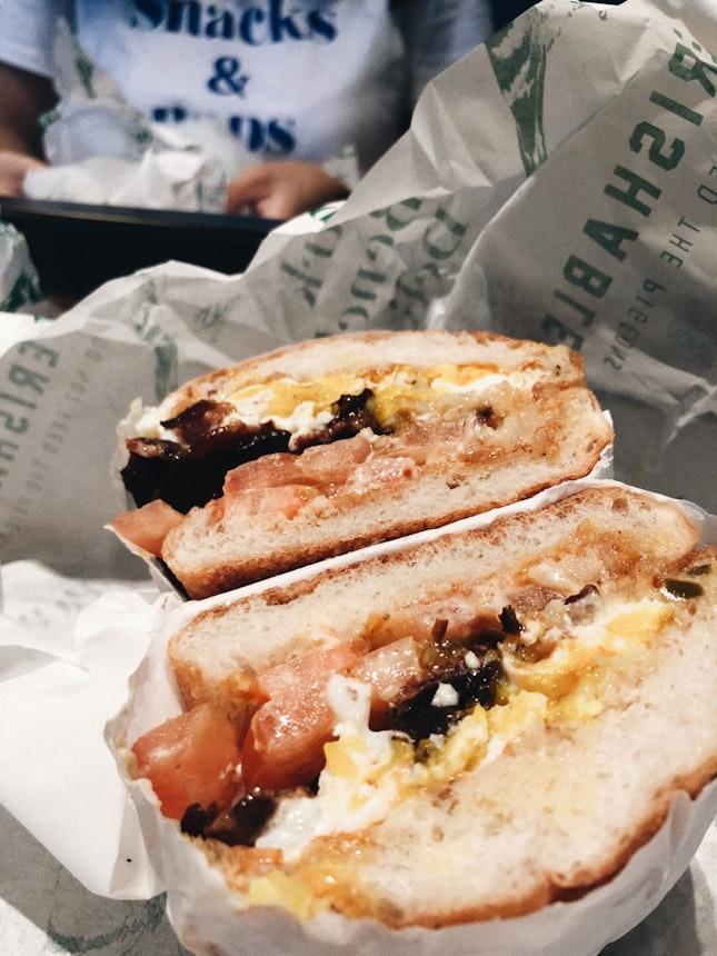 Cubano/Fried Chicken/Fried Egg Power Bagels + PBJ Sandwich