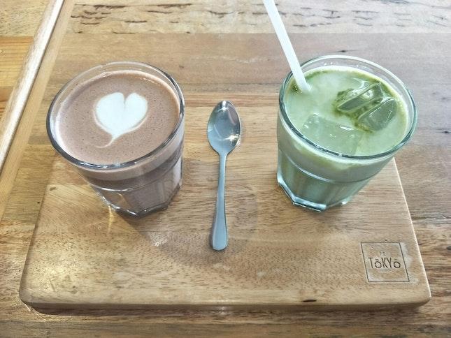 Hot Chocolate & Iced Matcha Latte