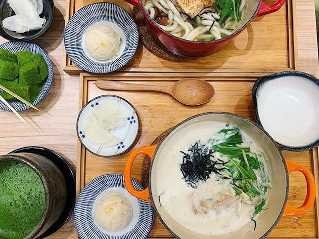 #cantgetenough of #japanesefood #especially the #ujimatcha #matchatea #matchawarabi 🍵 #porkshabusoyamilk #chanabe #yummlicious #instafood #foodporn #foodlover #burpple #instaweekend #kagurazakasaryo #神楽坂茶寮 #vivocity #felzfooddiary